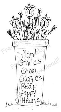 """""""Plant Smiles, Grow Giggles, Reap Happy Hearts"""" free embroidery pattern © Primitive Blessings by Twigs n Sprigs ❤My Family❤ Broderie Primitive, Primitive Embroidery, Primitive Stitchery, Primitive Crafts, Primitive Patterns, Primitive Snowmen, Cross Stitch Embroidery, Embroidery Patterns, Hand Embroidery"""