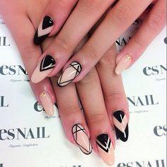 nude & black nailart - esnail LA