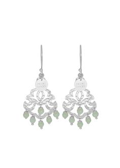 Alissa Mini Beaded Earrings - Mint Agate - showcasing faceted semi-precious stone beads and Nicole Fendel's signature cut-out design.