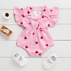 Baby Girl's Heart Bodysuit # Baby Outfits Newborn, Toddler Outfits, Kids Outfits, Baby Girl Fashion, Kids Fashion, Fashion Clothes, Fashion Design, Baby Girl Swimsuit, Baby Boutique Clothing