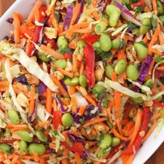 Asian Slaw with Ginger Peanut Dressing.