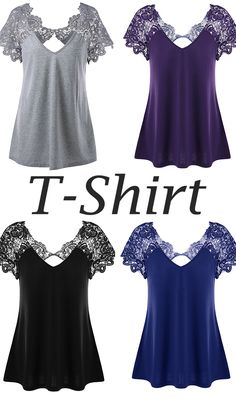 Plus Size Cutwork Lace Trim T-Shirt