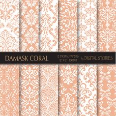Damask Digital Paper DAMASK CORAL PEACH digital by DigitalStories, €2.60