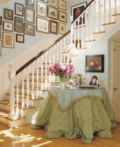 skirted round foyer table