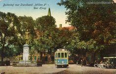 """Trams, Den Haag Buitenhof met Standbeeld """"Willem 2"""" 1918 - In Oude Ansichten"""