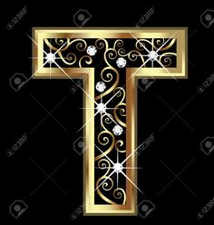 T gold letter with swirly ornaments Stock Vector - 16320522 Alphabet Photos, Alphabet Letters Design, Alphabet And Numbers, Mickey Mouse Decorations, Alphabet Wallpaper, Instagram Prints, Embroidery Letters, Gold Letters, Logo Design Inspiration