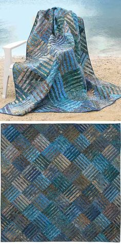 "Pattern for Underground Blues Quilt - 86"" x 86"" finished. Great colors (Hartman guest room idea)"