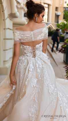 crystal design 2017 bridal off the shoulder wrap sweetheart neckline heavily embellished bodice princess romantic ball gown a  line wedding dress royal train (emilia) zbv
