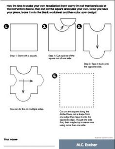 Escher Tessellations Art Activity - Escher Coloring Pages - No Prep Art History
