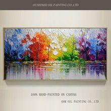 Wholesale High Quality Abstract Trees Oil Painting On Canvas Handmade Beautiful Colors Abstract Landscape Trees Oil Paintings(China (Mainland))
