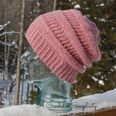 Purl illusions crochet slouchy hat pattern
