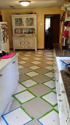 The Virtuous Wife: How I Painted my Linoleum Floors Kitchen Floor Lino, Linoleum Kitchen Floors, Painting Linoleum Floors, Linoleum Flooring, Painted Floors, Floor Painting, Plywood Kitchen, Vinyl Wood Flooring, Wood Vinyl