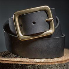 ab980725feeea Pánský kožený pásek s mosaznou sponou - černý Kalhoty, Barva, Košile,  Příslušenství A
