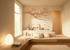 pink tree in living room