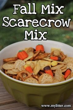 Scarecrow Fall Mix – Candy Corn and Snacks! I think I would add Reese's Pieces and maybe gold fish crackers, too!