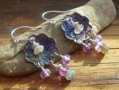 Indigo flower earrings copper flowers indigo patina by kmaylward