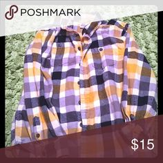 Boys button up ❤️ Boys Gymboree Button up plaid shirt. Yellow, navy blue and grays. Flannel material. Gently used. Smoke free home. Size M 7-8 Gymboree Shirts & Tops Button Down Shirts