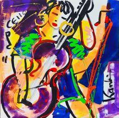 Cello Kanbier uit de serie muziekanten schilderijen Cello, Disney Characters, Fictional Characters, Neon Signs, Painting, Art, Modern Art, Painting Art, Cellos