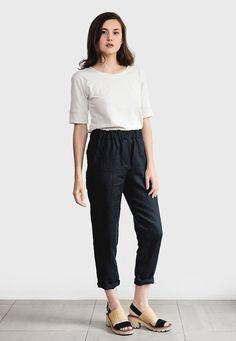 Black linen pants loose linen trousers Washed women linen