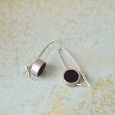 Long silver earrings Black and silver earrings by closeupjewelry