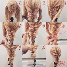 フォロワーさんリクエスト★ エビ編みのやり方✨ 1,少し左寄りに二つ編み込みを作り毛先はフィッシュボーンを作ります 2,アレンジスティックをフィッシュボーンの真ん中にさします 3,横の髪を捻ります 4,アレンジスティックを使い横の髪をフィッシュボーンの真ん中に通します 5,少し下にアレンジスティックをさして横の髪をフィッシュボーンの真ん中に通します 6,5番同じ要領で少し下にスティックをさして横の髪をフィッシュボーンの真ん中通します 7,反対側の横の髪も3番〜6番と同じようにやっていくと写真のようになります 8,毛先は折り返して結び直します Fin,崩したら完成です 三つ編みでもが出来るので好きな感じでやってみてください★ 動画は出来次第postします★ 参考になれば嬉しいです^ ^ #ヘア#hair#ヘアスタイル#hairstyle#サロンモデル#サロモ#撮影#編み込み#三つ編み#フィッシュボーン#ロープ編み#まとめ髪 #アレンジ#結婚式#ブライダル#ヘアアレンジ#アレンジ動画#アレンジ解説#香川県#高松市#丸亀市#宇多津#美容室#美容院#美容師#エビ編み
