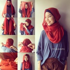 """Finally, my tutorial for yesterday's scarf. Use the square one, cotton paris fabric for best result."" 