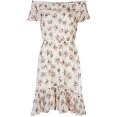 Denim & Supply Ralph Lauren Floral Off-The-Shoulder Dress found on Polyvore featuring dresses, ruffled dresses, white off the shoulder dress, off the shoulder ruffle dress, white dresses and vintage style dresses