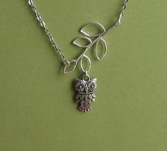 tinycottagetreasures (etsy)  Owl and Branch - Antiquated Silver Necklace