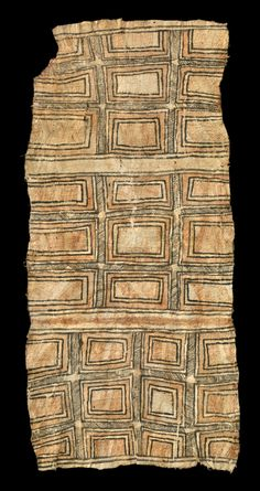 Tapa cloth from Oro province, Papua New Guinea .  Tapa and pigment.  Collected in the 1920s     May 2014, Catalogue