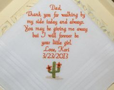 Special Wedding Memento for your Future Father In-Law Gift Embroidered Personalized Wedding Handkerchief By Canyon Embroidery on Etsy  Father In-Laws Name Thank you for raising the man of my dreams and welcoming me into your family. I am blessed to be his wife.   ~•●♥ƸӜƷ♥●•~—~•●♥ƸӜƷ♥●•~—~•●♥ƸӜƷ♥●•~—•●♥ƸӜƷ♥●•  Make your wedding extra special by getting your handkerchiefs personalized! They make wonderful gifts for the Mother & Father of the Bride & Groom. And wedding party. See all my ...