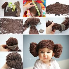 DIY adorable princess leia yarn wigThis princess leia yarn wig is so cute! perfect for dressing up and for the fun photos you can take. What you need: brown yarn. Brown felt Old socks Baby Princess Leia Costume, Yarn Wig, Diy Wig, Wig Hat, Baby Costumes, Doll Hair, Lana, Creations, Crochet Hats