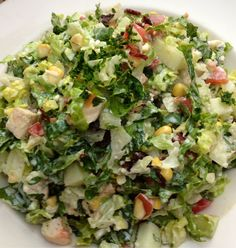 SkinnyLicious Chopped Salad* Chopped Lettuce, Apple Slices, Corn, Bacon, Avocado, & Grilled Chicken.