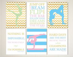 Gymnastics wall art, acrobatics, gymnast, girls wall art, gymnastics quotes, gift for girl, set of 6, choose your colors and sportsby PicabooArtStudio