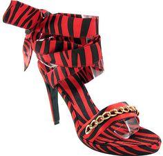 Women's D2 by Dikuza Angelina - Black/Red Zebra Satin High Heels