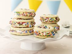 Birthday cake ice cream sandwiches are easy to make with store bought sugar cookie dough.