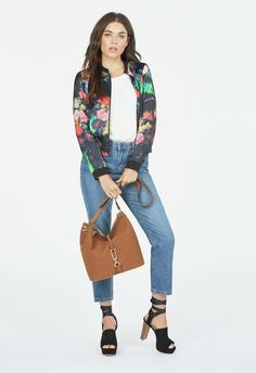 A little bit country, a little bit rock and roll, this piece is edgy and sophisticated. Mid-weight bomber jacket with bright floral print and black trim. Perfect for layering. ...