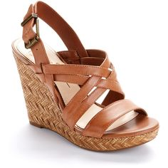 Jessica Simpson Leather Wedge Espadrilles ($23) ❤ liked on Polyvore featuring shoes, sandals, wedges, heels, zapatos, women, wedge heel sandals, wedges shoes, wedge sandals and espadrille wedge sandal