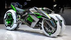 CONCEPT - Kawasaki J Three Wheeler EV - Presented at the Tokyo Motor Show 2013. The bike has different modes (ex: Sport Mode, Comfort Mode, etc.) depending on your style and mood, and you can morph between them.