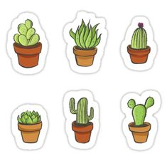 'Cacti sticker set' Sticker by SouthPrints Cactus Stickers, Kawaii Stickers, Cute Stickers, Journal Stickers, Laptop Stickers, Planner Stickers, Tumblr Stickers, Cute Doodles, Aesthetic Stickers