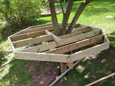diy build your kids a play castle, diy, outdoor living, woodworking projects, Build the base around a small tree leaving room for the tree to grow