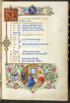 FCBTC / Medieval manuscript, calendar page for January, this time from t Hours of Laudomia de Medici. T book dates from around 1502 & is richly decorated. At t base of t page we see a man warming his hands before t fire, keeping cosy despite t winter chill.  British Library MS Yates Thompson 27.