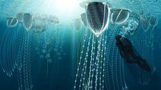 Underwater Ocean City for a Future Australia. Australian Pavilion at Venice Biennale City Brisbane Architecture, Conceptual Architecture, Futuristic Architecture, Green Architecture, Beneath The Sea, Under The Sea, Ocean City, Eco City, Underwater City