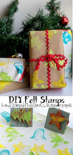 DIY Felt Stamps for Hand Stamped Christmas Wrapping Paper from Life Sew Savory