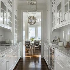 White Galley Butlers Pantry with White Beadboard Trim Backsplash