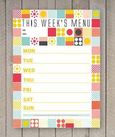 Printable Menu Weekly Food Planner Organizer by SamOsborneStore