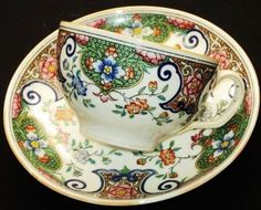 MINTON ANTIQUE ENGLAND EASTERN PAISLEY TEA CUP AND SAUCER