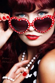 New Favorite Sunglasses:: Red and White Polka Dot Heart Sunglasses:: Vintage Sunglasses:: Retro Style:: Pin Up Girl Sunglasses