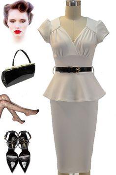 40s Style White Belted WWII USO Pinup Wiggle Dress w Peplum Puff Sleeves Belt | eBay
