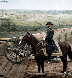 General William T. Sherman on horseback at Federal Fort No. 7 near Atlanta, Georgia