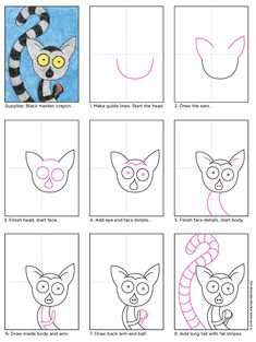 Draw a Lemur. PDF tutorial available.#lemur #howtodraw #directdraw